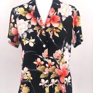 Kaua'iana Vintage Hawaiian Floral Button-Up